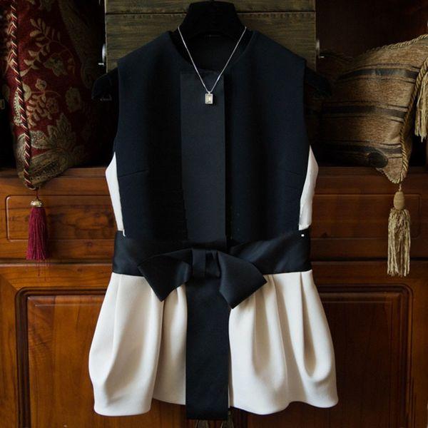 Neue Ankunft Französisch Romantische Ärmellose Frauen Weste Großen Bogen Slim Fit Weibliche Mode Lässig Patchwork Tank Tops 62301 C19040301
