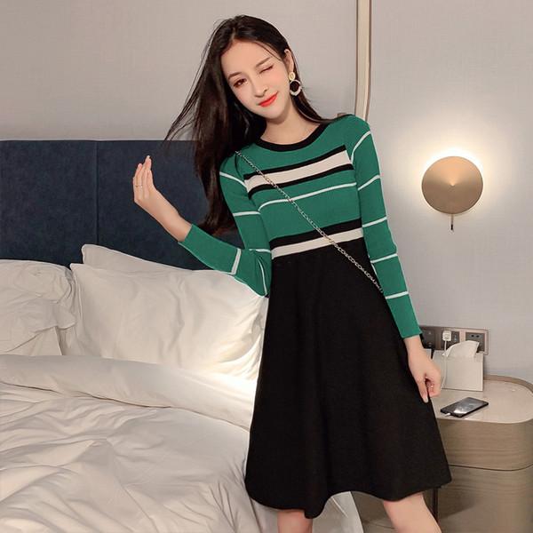 2019autumn new korean version of the slim slimming temperament sweater tutu fashion fake two-piece dress tide
