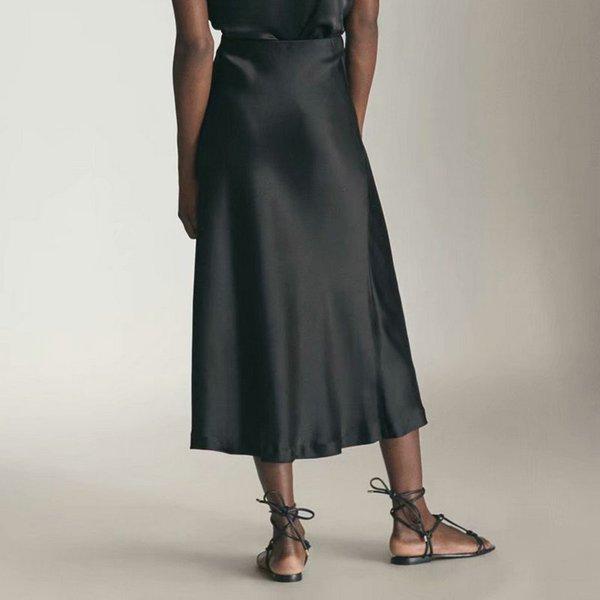 Женская одежда 2020 Весна Летние Женщины Высокая талия Сатин Металлический Цвет Длинная Юбка Блестящий Шелковый Имитация MIDI Юбка Серебро Черный