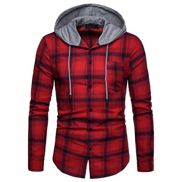 Winter Fashion Clothing Grid Printing Hoodies For Men Cotton Long Sleeve Tshirts European Size Mens Sweatshirt With Hat