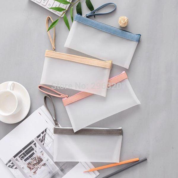 100pcs 20*10cm Frosted Pen Pencil Bag Waterproof Storage Bag Large Capacity Women Makeup Pouch Cosmetics Case