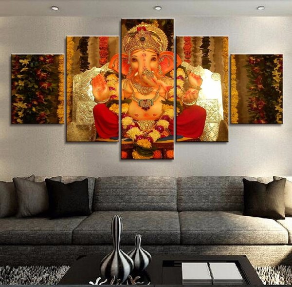 Large Poster HD Printed Painting Canvas Print Home Decoration 5 Panel Ganesha God Elephant Wall Artwork Pictures For Living Room