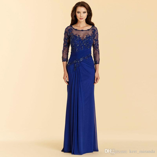 New Vintage Royal Blue Evening Dresses High Quality Applique Chiffon Prom Party Dress Formal Event Gown Mother Of The Bride Dress