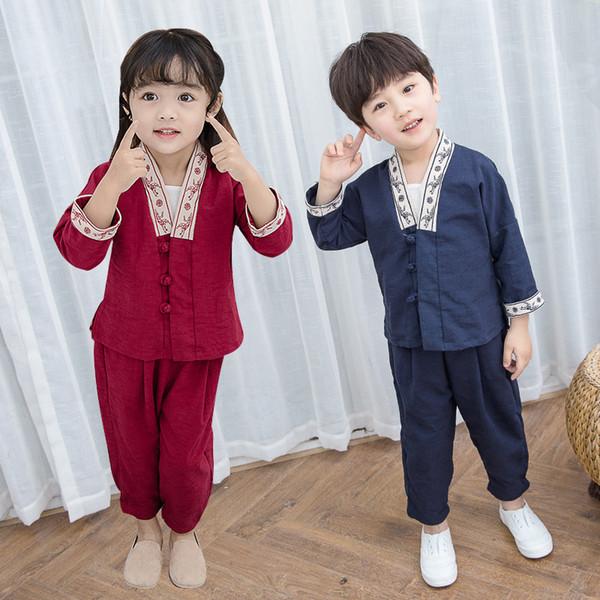 Neue Hanfu Mädchen Baby Chinese Dance Kostüme Baumwolle Und Leinen Tang Anzug 2 stücke Für Jungen Nationalen Kostüme Festival Outfit SL1178