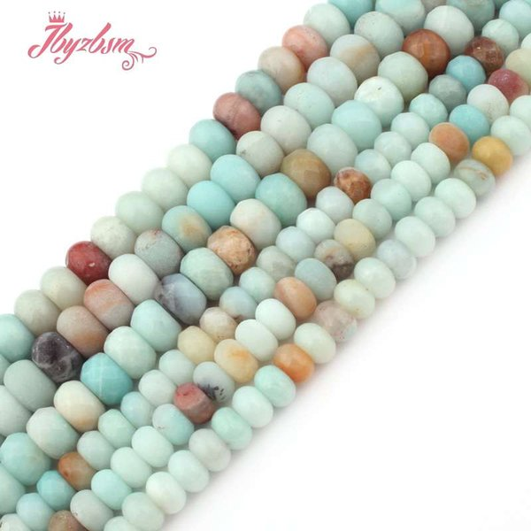 "3x6 4x8mm Smooth Matte Faceted Mutil-Color Amazonite Stone Rondelle Spacer Bead for DIY Bracelet Jewelry Making 15""Free Shipping"