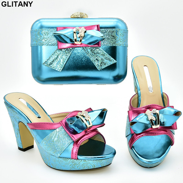 Shoe and Matching Bag for Nigeria Party Designer Shoes Women Luxury 2019 Crystal Wedding Shoes Pumps Ladies Sandals with Heels