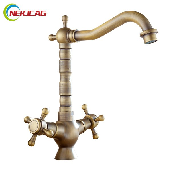 Bathroom Sink Faucet Double Handle Control Long Nose Spout Single Hole Hot and Cold Water Mixer Tap Crane