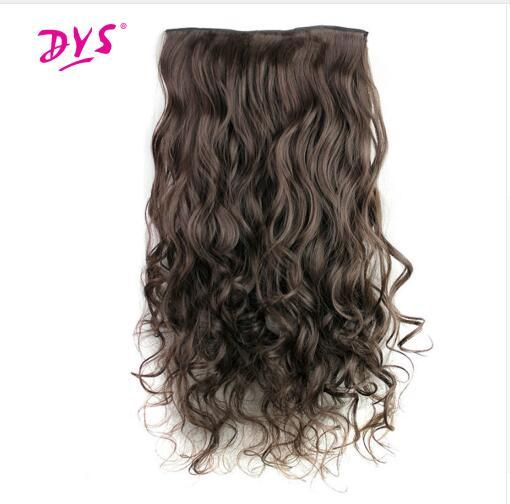 5 Clips in Hair Extensions One Piece Long Wavy Synthetic High Temperature False Hair Hairpieces for Women 24Inch