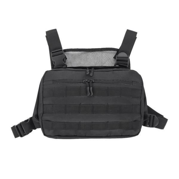 Bolso de pecho negro Ajustable Oxford Hip Hop Streetwear Bolso de hombro funcional Paquetes de la cintura Bolsos del aparejo del pecho de Kanye West