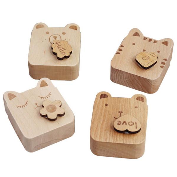 Gatto del fumetto Mini Music Box di legno rotante a orologeria Caixa De Castiglia nel cielo Musical Box di legno della decorazione della casa