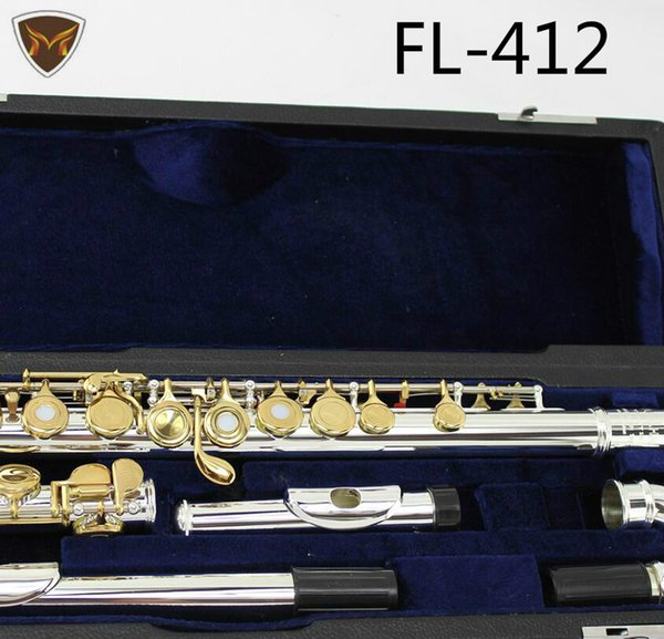 Curved Heads FL-412 Silver Plated Gold Lacquer Key Flutes 16 17 Holes Open Closed C Key High Quality Flute With Case Free Shipping