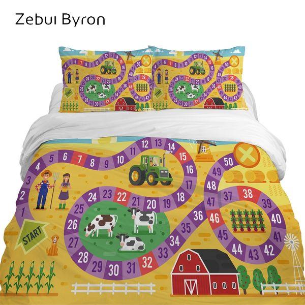 3d Children S Bedding Sets Luxury Bed Set Queen King Twin Full Size Cartoon Duvet Cover Set For Baby Kids Boys Farm Map King Duvet Cover Set