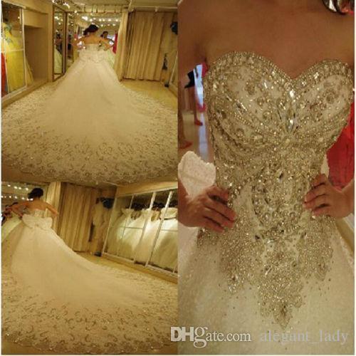 Luxus Bling Ballkleid Brautkleider Kathedrale Royal Train Shiny Crystal Strass Steine Pailletten Perlen Brautkleider vestidos de novia