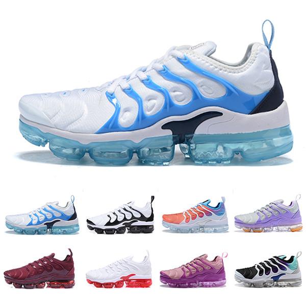 2019 más nuevos TN Plus mujeres de los zapatos corrientes baratos blanco niña rosa púrpura de las mujeres de uva entrenadores de deportes femenino al aire libre las zapatillas de deporte 36-40 euros