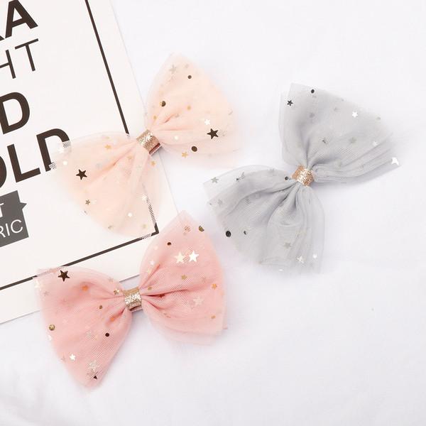 Princesse dentelle Clips de cheveux avec bling Etoiles Barrettes pour les filles Glitter Knot Bows cheveux Mode enfants Couvre-chef cheveux