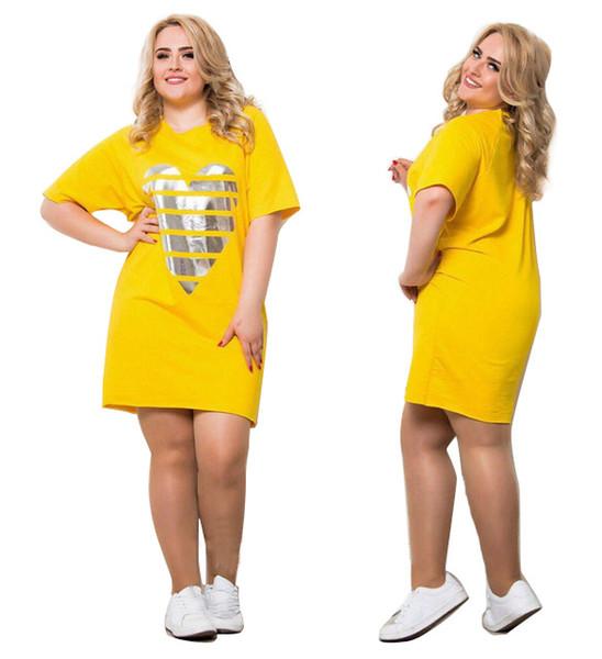Damen Sommer T-shirt Puls Größe Frauen Kleidung Herz Muster Designer Shirt Rundhals Drei Farben Sommerkleider