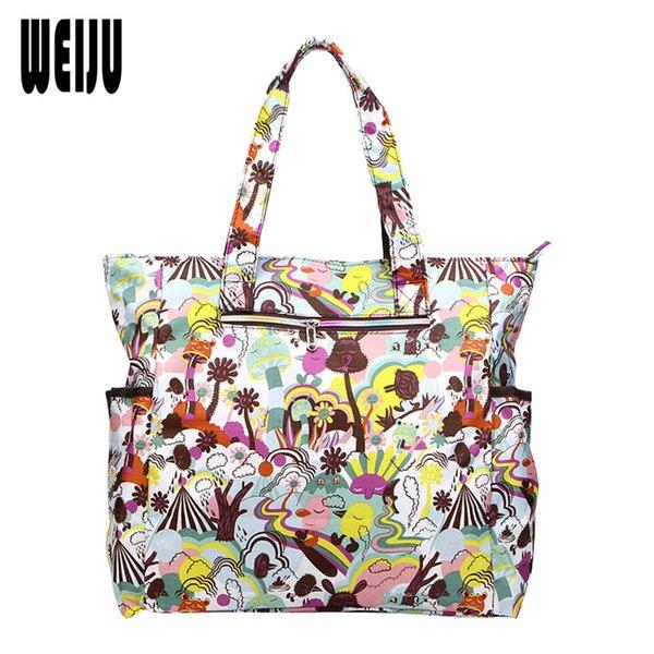 WEIJU 2017 New Flower Printing Women Handbag Shoulder Beach Bag Nylon Waterproof Large Capacity Casual Bags Tote Bolsos