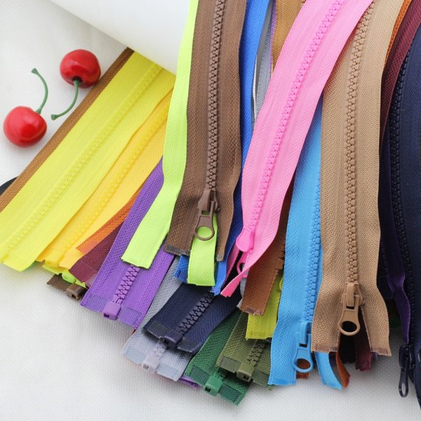 5 Pcs 5# resin color 50cm/60cm open tail zippers for sewing Children's down jacket locks for jackets closure clothing