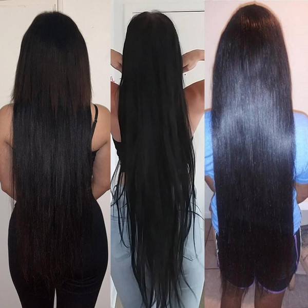 Queenlife 28 30 32 38 360 pulgadas del frente del cordón pelucas de cabello humano 13x6 pelo brasileño de Remy largas pelucas de pelo humano para la mujer Negro