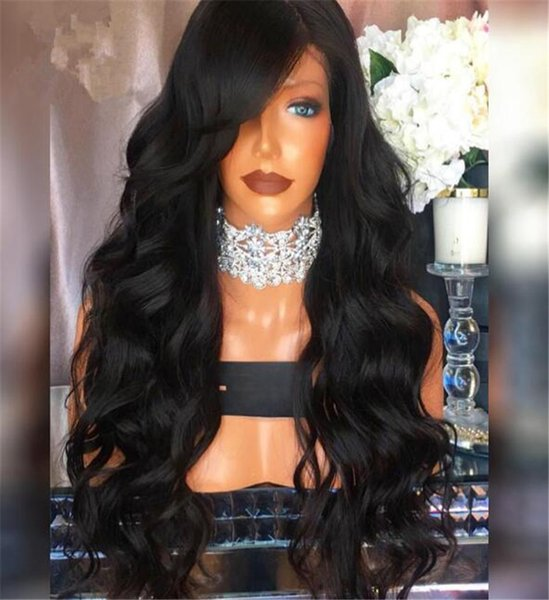 100% Brazilian Human hair 4*4 Glueless Silk Top Full Lace Wigs Body Wave Lace Front Wig With Baby Hair