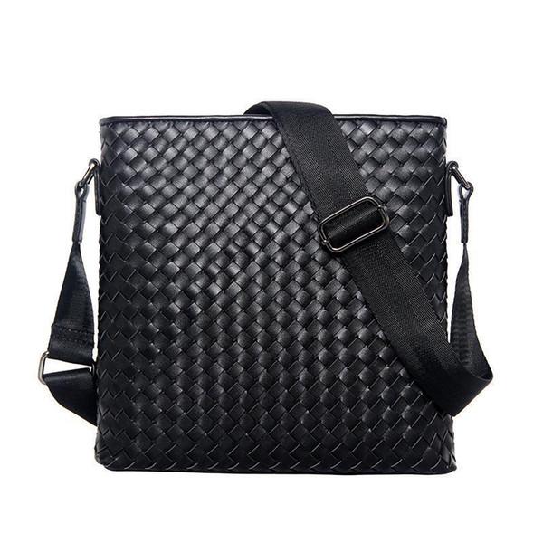 Mens Business Shoulder Bag Men s Classic Cowhide Genuine Leather Woven Bag Vertical Section Shoulder Messenger Business Br