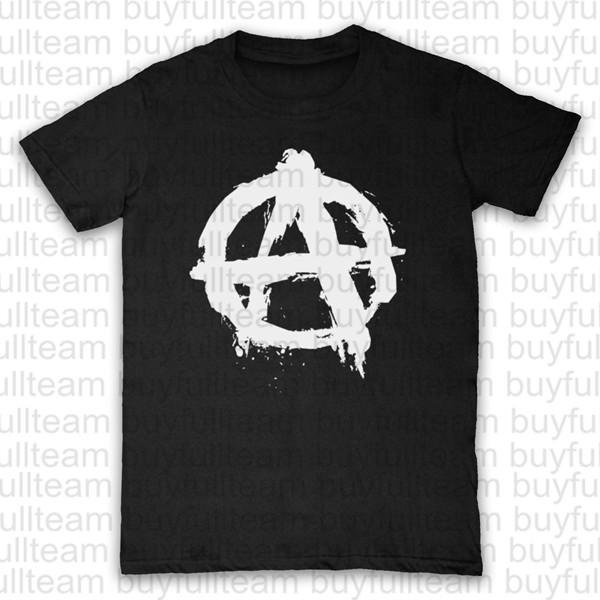 ANARCHIE LOGO PUNK SYMBOLE REBEL T-SHIRT MENS CASUAL Hommes noir à manches courtes Tops Mode col rond T-shirts Taille S M L XL 2XL 3XL