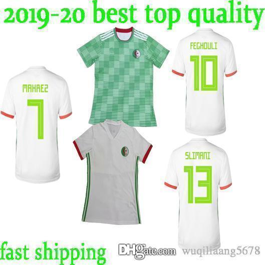 Lo nuevo 2019 Casa Verde Argelia Fútbol Jersey 2018 Copa del mundo Casa Blanca Camisa nacional Equipo de fútbol de manga corta Uniformes de atletismo