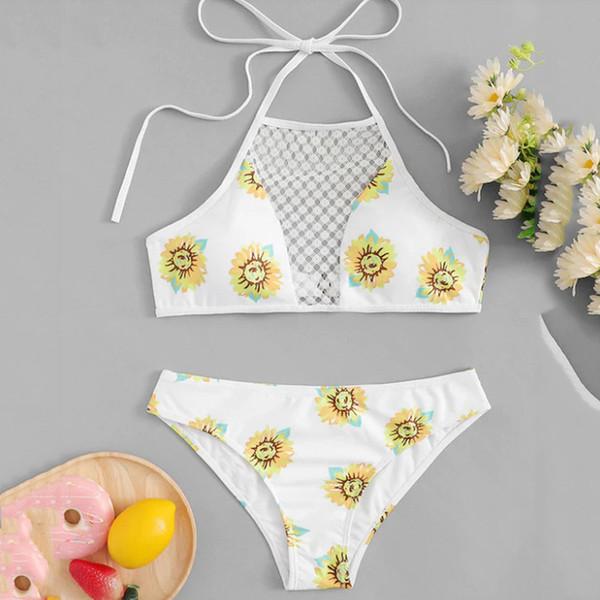 2019 New Summer Halter Bikini Set Deux Pièce Sexy Tournesol Imprimé Maillot De Bain Femme Taille Basse Dos Nu Rembourré Maillot De Bain