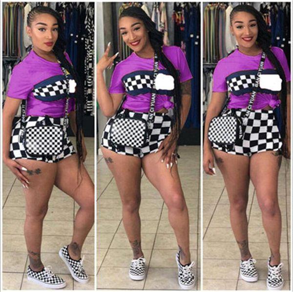 Women Short SleeveTracksuit Shorts Set Black White Grid T shirt + Shorts Summer 2 Piece Outfit 2019 Sportswear Street Jogging Suit B3181