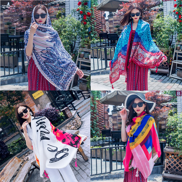 Women Large Shawls with Tassel silk Scarf Retro Ethnic Style Beach Towel Cotton Linen Sunscreen Scarve travel Table Home Decor 40 styles