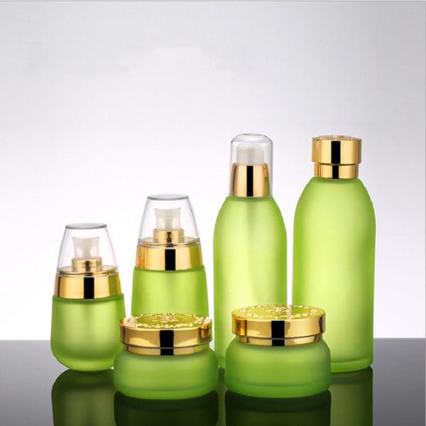 Skin Toner Suit Empty Bottle Silver Gold Carved lid Green Emulsion Bottle Glass Cream Lotion Pump 30ml 50ml 120ml 30g 50g