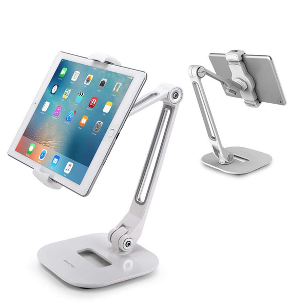 """Long Arm Aluminum Tablet Stand, Folding iPad Stand with 360° Swivel iPhone Clamp Mount Holder, Fits 4-11"""" Display Tablet/Phones for Kitchen"""