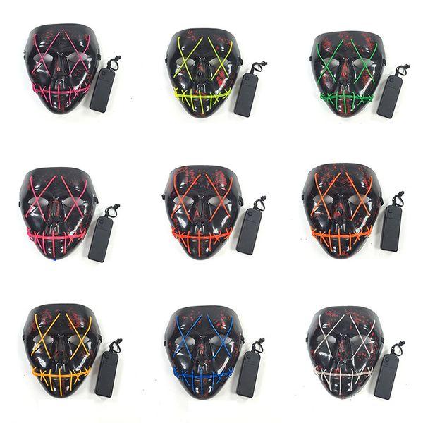 Halloween Led Maske Cosplay Kostüm Party Maske EL Draht Glowing Maskerade Geburtstag Maske Karneval Masken 10 Farben HH7-1718