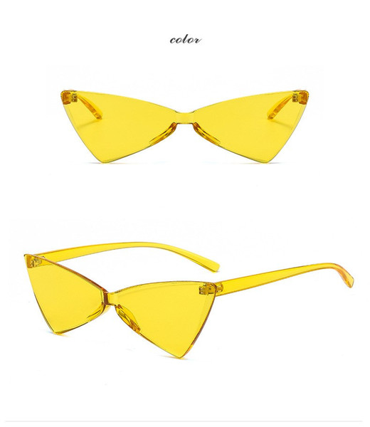 Triangle Women Rimless Plastic Sunglasses Transparent Shades Sun Glasses Female Cool Candy Color Eyewear Oculos Easy To Clean Anti Glare