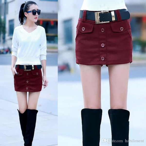 2019 spring new European and American women's students slim skirts slim fashion casual wool skirt shorts