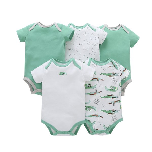 5pcs/lot Baby Romper Short Sleeve Cotton Boy Girl Clothes Summer Jumpsuits Clothing Set Body Suits 6-24months Bebe Costume MX190720