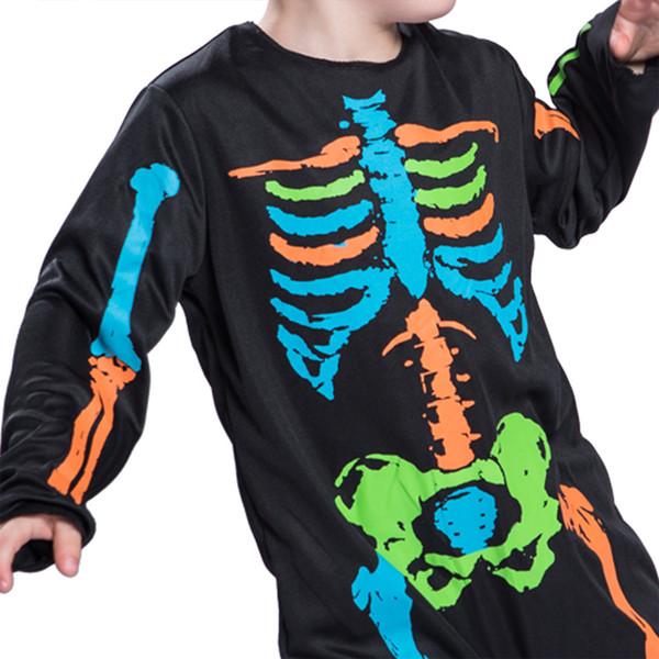 Halloween little boy colorful skull cute fancy dress party black jumpsuit for children to wear coplay