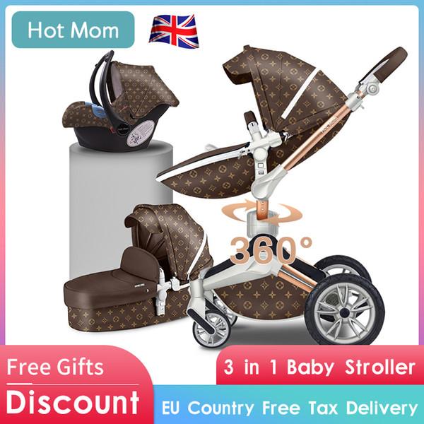 Sıcak anne ISOFIX arayüzü araba koltuğu 3in1 PU bebek arabası 87 cm yüksek peyzaj oturabilir reclin Hafif bebek arabasından 2019