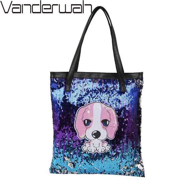 WANDERWAH Cute Dog Sequin Bag Women Casual Shopping Tote Bag School Travel Women Folding Shoulder Leisure Bags Zipper Pouch Sac