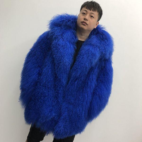 2019 Mode pour hommes Manteau de laine de Mongolie avec Cap chaud d'hiver Outwear Lapel plage Veste en laine veste à manches longues