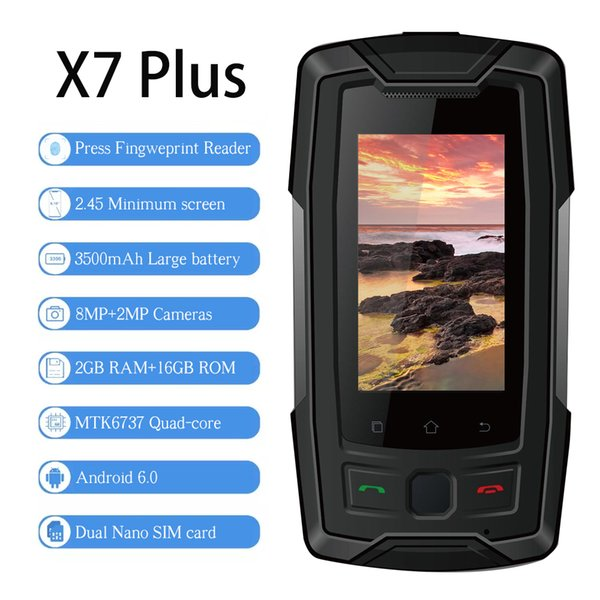 "SERVO X7 Plus 2.45"" mini Smartphone LTE IP68 Waterproof Rugged Mobile Phone MTK6737 RAM 2GB ROM 16GB Fingerprint NFC GPS Walkie"