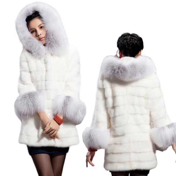 2019 Faux Fur Coat 2019 Casual Warm Long Faux Rabbit Fur Jacket Female Oversized Hooded Winter Coat Women Plus Size 5XL White SH190926 From Yiwang05,