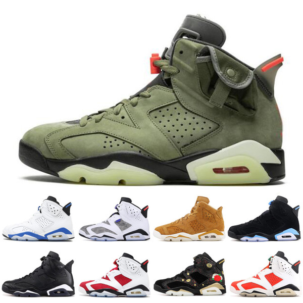 2020 6 6S Uomini scarpe da basket gatto nero Travis Scotts CNY UNC sport blu Nuovo Bred moda Mens shoes Sneakers allenatori sportivi 7-13