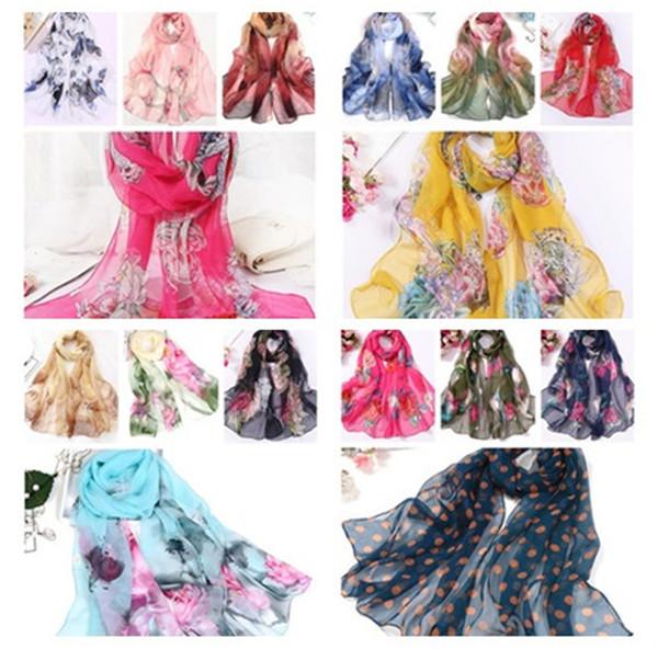 Moda colorata fiori sciarpe protezione solare telo mare sciarpa lunga all'ingrosso signore sciarpa sciarpa Rayon 160cm * 50cm T10C0010