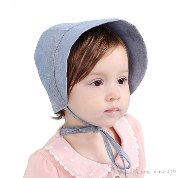Princess Summer Baby Hat for Girls Photography Props Solid Color Lace Up Baby Girl Cap for 3-15 Months