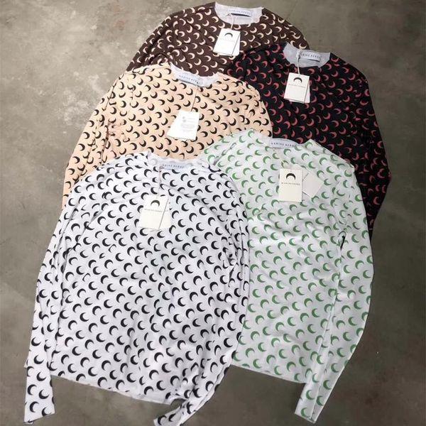 best selling 2020SS New Marine Serre T-shirt Women Slim fit Long Sleeve Marine Serre Tee 1:1 Tag Half moon Logo Stretch soft T-shirts T200407
