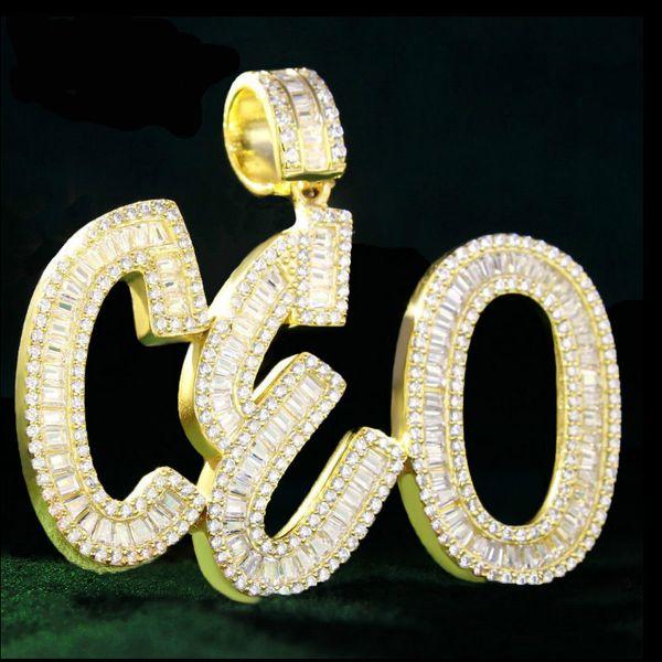 Nome personalizado Baguete Letras Hip Hop Pingente Cadeia de Prata de Ouro Bling Zirconia Hip Hop Pingente de Jóias dos homens com 4mm de corrente de tênis