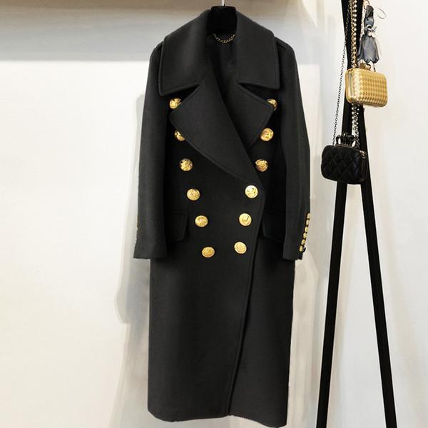 2018 Hiver Femmes Noir Long Blazer Manteau Piste Concepteur À Double Boutonnage D'or Boutons Dames Parti Manteau Vêtements