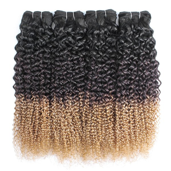 Ombre cheveux blonds bouclés Weave Bundles Jerry Curl 1B 4 27 Trois Tone 12-24 pouces 3 ou 4 pièces brésiliennes Extensions de cheveux humains