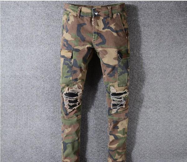Camo Jeans Nuevo diseñador de moda de verano Mens Ripped Biker pantalones casuales Hip Hop Jeans para Jeans Denim Pantalones largos